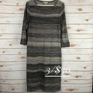 Loft Outlet large dress 3/4 sleeve black stripe